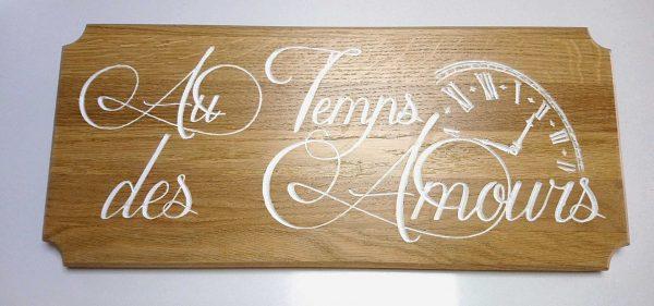 Gravure sur bois, plaque chêne massif chambre d'hôtes